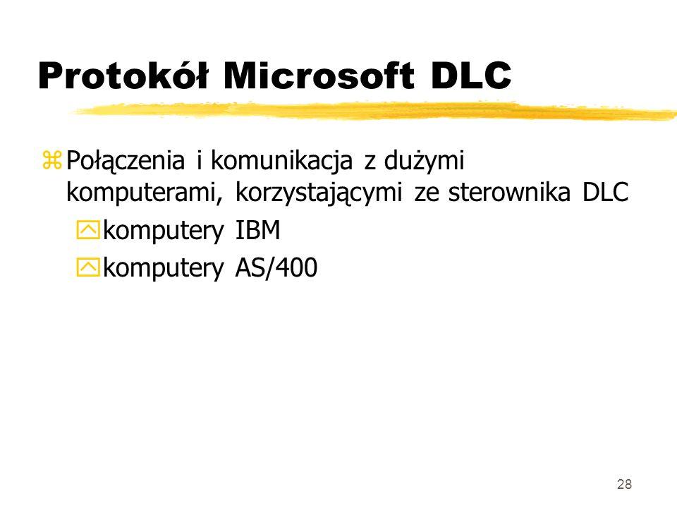 28 Protokół Microsoft DLC zPołączenia i komunikacja z dużymi komputerami, korzystającymi ze sterownika DLC ykomputery IBM ykomputery AS/400