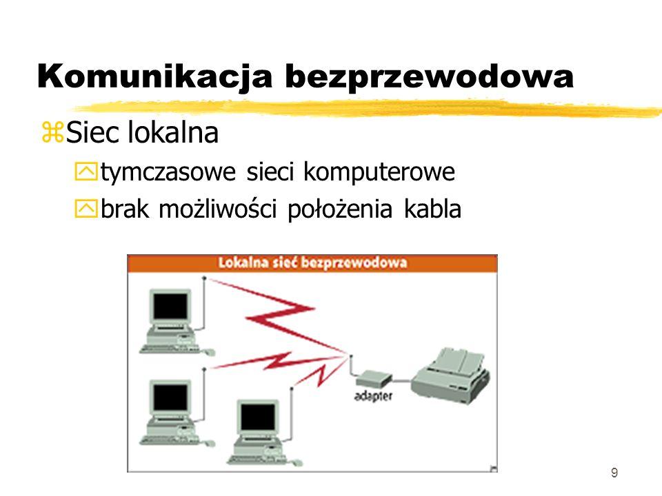 9 Komunikacja bezprzewodowa zSiec lokalna ytymczasowe sieci komputerowe ybrak możliwości położenia kabla