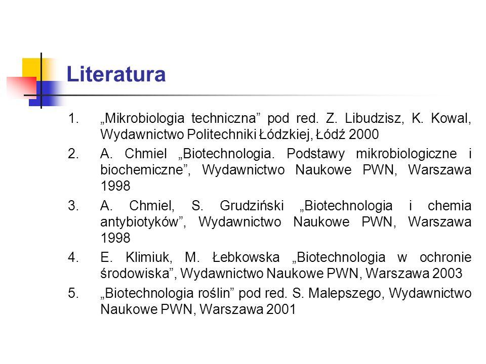 Literatura 1.Mikrobiologia techniczna pod red. Z. Libudzisz, K. Kowal, Wydawnictwo Politechniki Łódzkiej, Łódź 2000 2.A. Chmiel Biotechnologia. Podsta