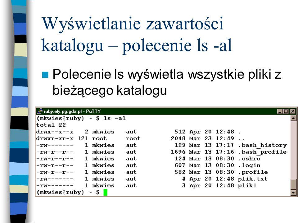 Wyświetlanie zawartości katalogu – polecenie ls -al Polecenie ls wyświetla wszystkie pliki z bieżącego katalogu