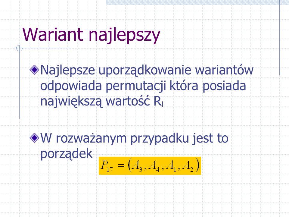 Wariant najlepszy Najlepsze uporządkowanie wariantów odpowiada permutacji która posiada największą wartość R i W rozważanym przypadku jest to porządek