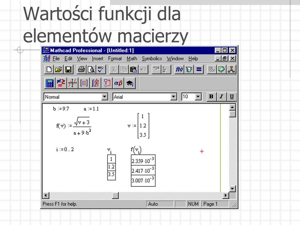 Wartości funkcji dla elementów macierzy