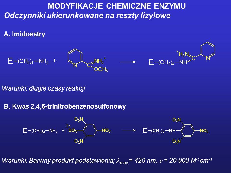 MODYFIKACJE CHEMICZNE ENZYMU Odczynnik ukierunkowany na reszty reszty serylowe Fluorek fenylometylosulfonylu (PMSF)