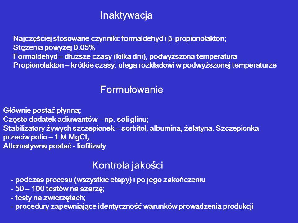 Inaktywacja Najczęściej stosowane czynniki: formaldehyd i -propionolakton; Stężenia powyżej 0.05% Formaldehyd – dłuższe czasy (kilka dni), podwyższona