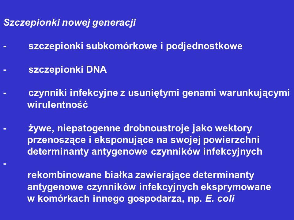Szczepionki nowej generacji - szczepionki subkomórkowe i podjednostkowe - szczepionki DNA - czynniki infekcyjne z usuniętymi genami warunkującymi wiru