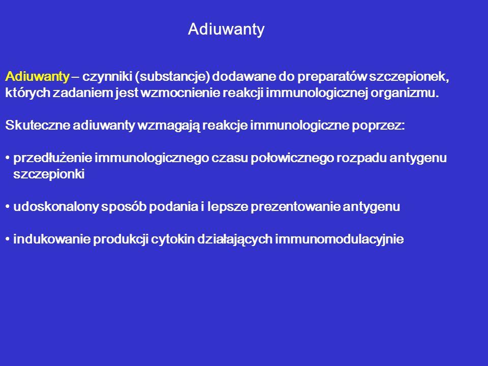 Adiuwanty Adiuwanty – czynniki (substancje) dodawane do preparatów szczepionek, których zadaniem jest wzmocnienie reakcji immunologicznej organizmu. S