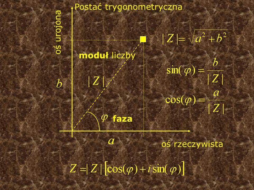 oś rzeczywista oś urojona Postać trygonometryczna moduł liczby faza