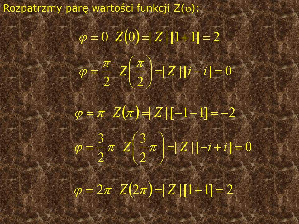 Rozpatrzmy parę wartości funkcji Z():
