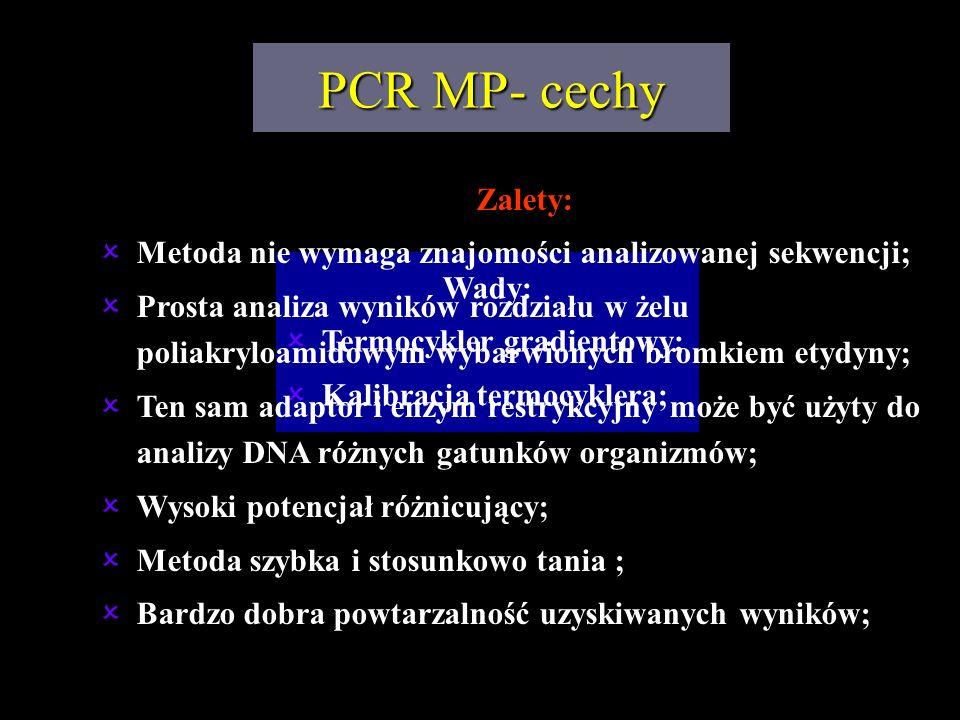 Wady: Termocykler gradientowy; Kalibracja termocyklera; PCR MP- cechy Zalety: Metoda nie wymaga znajomości analizowanej sekwencji; Prosta analiza wyni