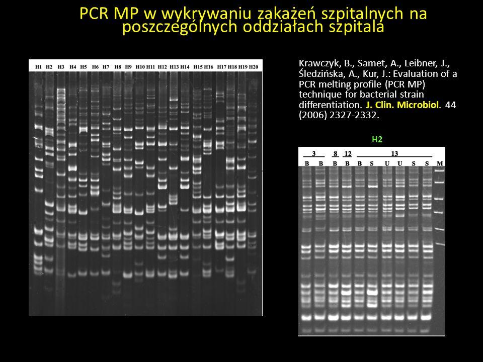 PCR MP w wykrywaniu zakażeń szpitalnych na poszczególnych oddziałach szpitala Krawczyk, B., Samet, A., Leibner, J., Śledzińska, A., Kur, J.: Evaluatio