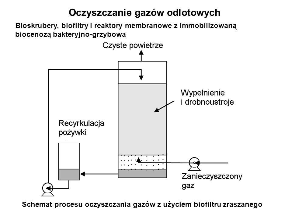 Oczyszczanie gazów odlotowych Schemat procesu oczyszczania gazów z użyciem biofiltru zraszanego Bioskrubery, biofiltry i reaktory membranowe z immobil