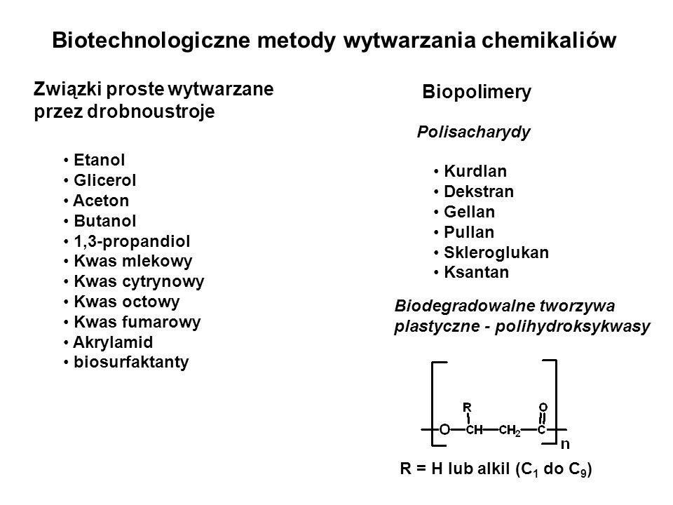 Biotechnologiczne metody wytwarzania chemikaliów Związki proste wytwarzane przez drobnoustroje Etanol Glicerol Aceton Butanol 1,3-propandiol Kwas mlek