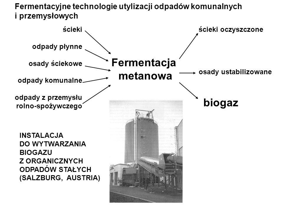Fermentacyjne technologie utylizacji odpadów komunalnych i przemysłowych Fermentacja metanowa ścieki odpady płynne osady ściekowe odpady komunalne odp