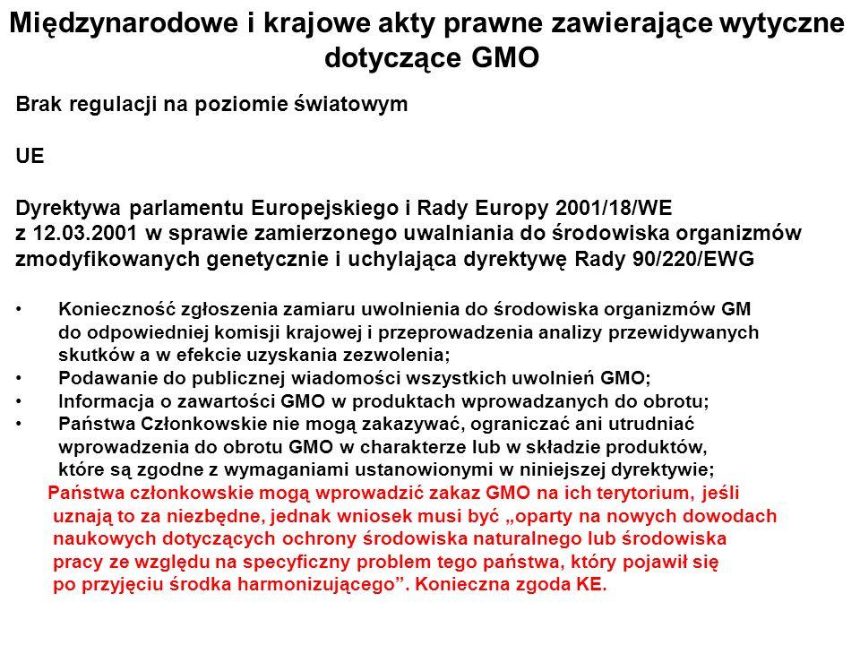 Międzynarodowe i krajowe akty prawne zawierające wytyczne dotyczące GMO Brak regulacji na poziomie światowym UE Dyrektywa parlamentu Europejskiego i R