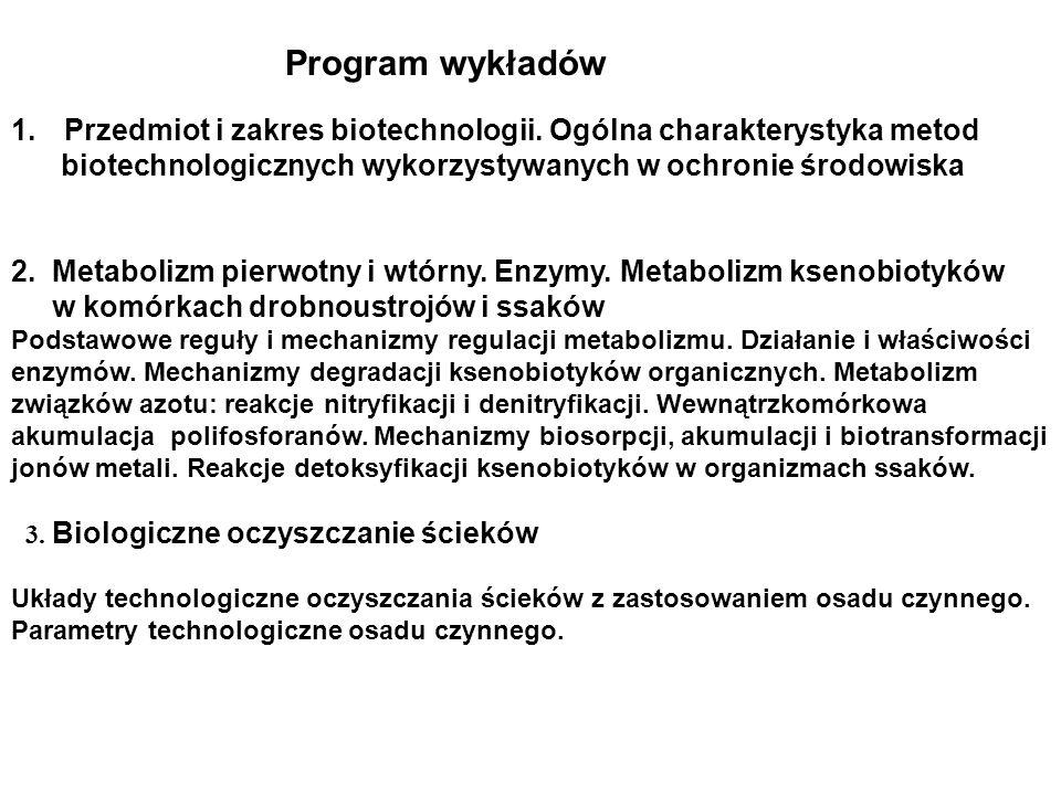 1.Przedmiot i zakres biotechnologii. Ogólna charakterystyka metod biotechnologicznych wykorzystywanych w ochronie środowiska 2. Metabolizm pierwotny i