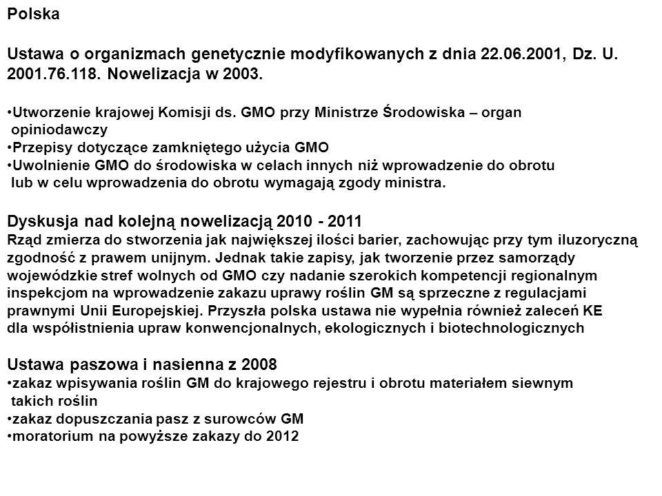 Polska Ustawa o organizmach genetycznie modyfikowanych z dnia 22.06.2001, Dz. U. 2001.76.118. Nowelizacja w 2003. Utworzenie krajowej Komisji ds. GMO