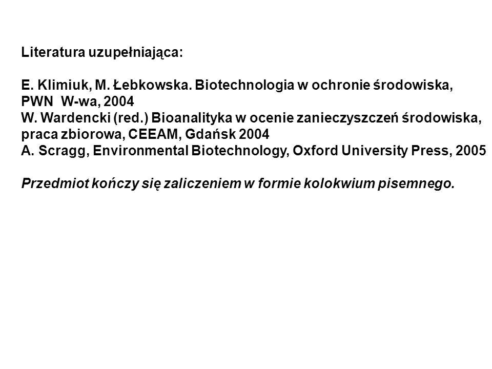 Literatura uzupełniająca: E. Klimiuk, M. Łebkowska. Biotechnologia w ochronie środowiska, PWN W-wa, 2004 W. Wardencki (red.) Bioanalityka w ocenie zan