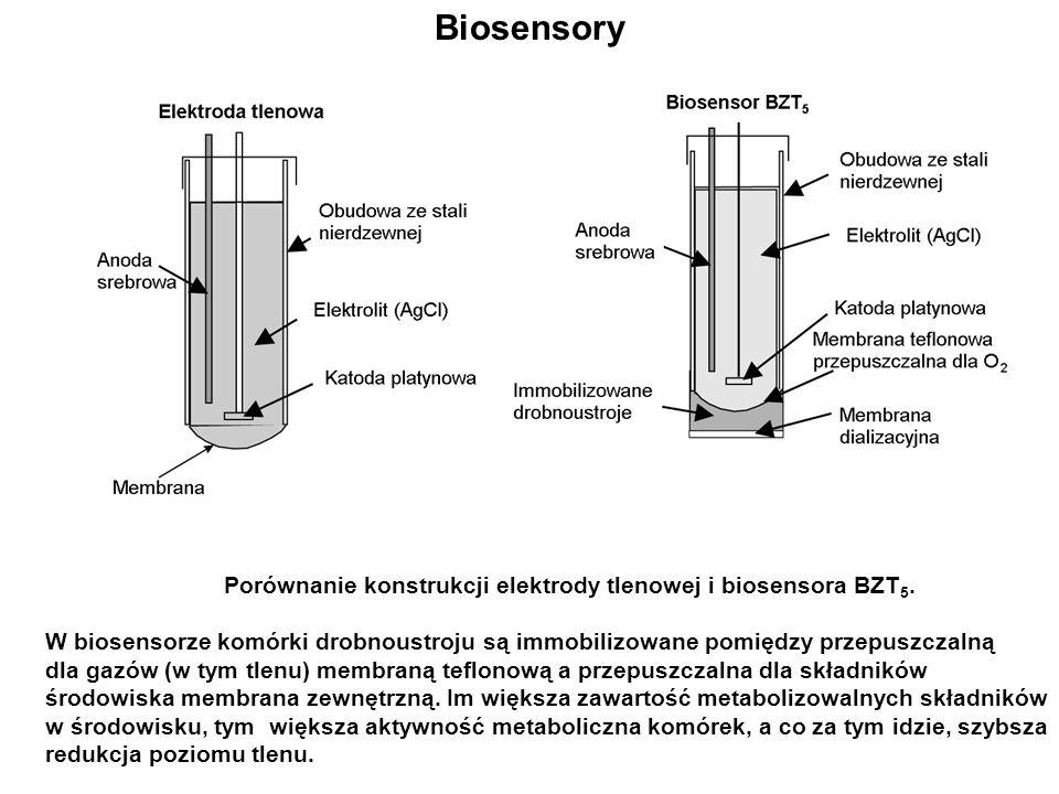Biosensory Porównanie konstrukcji elektrody tlenowej i biosensora BZT 5. W biosensorze komórki drobnoustroju są immobilizowane pomiędzy przepuszczalną
