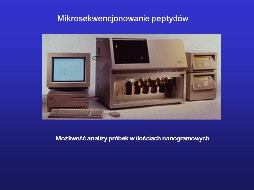 Mikrosekwencjonowanie peptydów Możliwość analizy próbek w ilościach nanogramowych