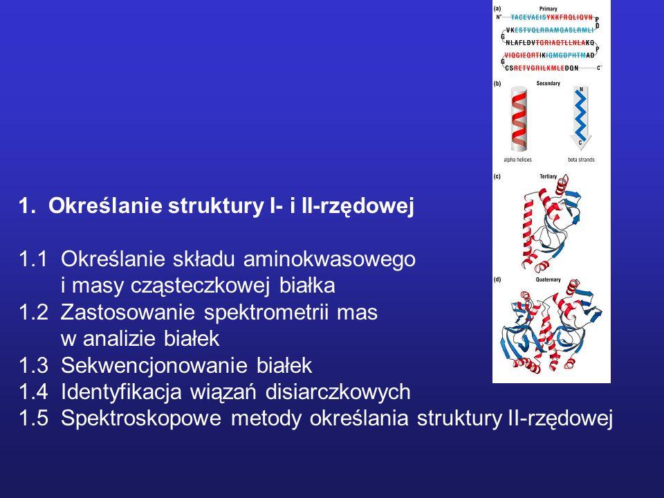 Hydroliza białka do składowych aminokwasów Warunki klasyczne: 6 M HCl zawierający 0.1% phenol, w próżni lub atmosferze azotu, w zamkniętej ampułce, 110 C, 18 – 96 h Określanie składu aminokwasowego Problemy i ograniczenia: - częściowa destrukcja reszt Ser, Thr, Tyr.