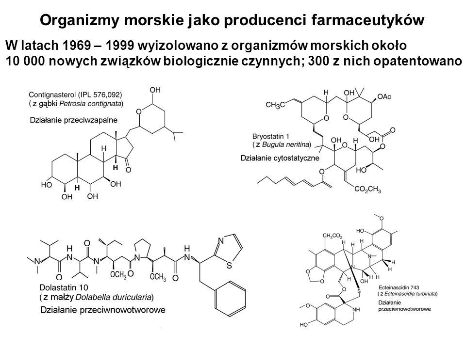 Organizmy morskie jako producenci farmaceutyków GatunekZwiązekDziałanie Ryby Squalus acanthias (rekin) Salmo salar Skorupiaki Callinectes supidus Bezkręgowce Conus magnus (śłimak stożkowy) Amphiporus lactifloreus (robak morski) Gąbki Aelgas mauritianus Lufariella variabilis Cyjanobakterie Lyngbya majuscule Squalamine Hepcidin Callinectin Ziconotide GTS-21 KRN7000 Manoalide Curacin A Przeciwnowotworowe, przeciwgrzybowe Kationowy peptyd przeciwdrobnoustr.