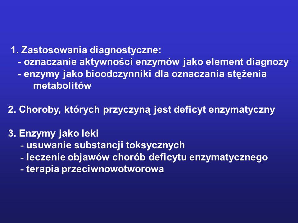 1. Zastosowania diagnostyczne: - oznaczanie aktywności enzymów jako element diagnozy - enzymy jako bioodczynniki dla oznaczania stężenia metabolitów 2