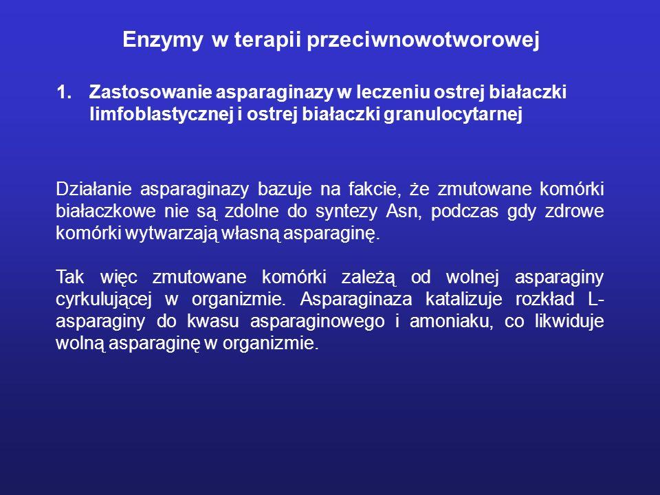Enzymy w terapii przeciwnowotworowej 1.Zastosowanie asparaginazy w leczeniu ostrej białaczki limfoblastycznej i ostrej białaczki granulocytarnej Dział