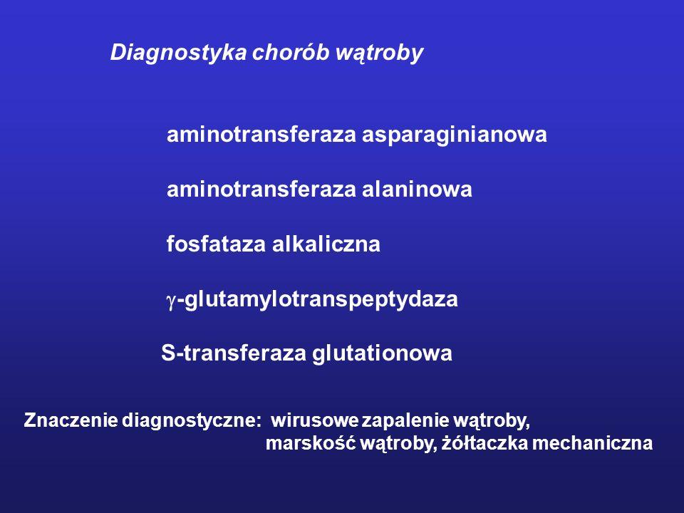 Diagnostyka chorób wątroby aminotransferaza asparaginianowa aminotransferaza alaninowa fosfataza alkaliczna -glutamylotranspeptydaza S-transferaza glu
