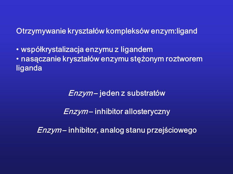 Otrzymywanie kryształów kompleksów enzym:ligand współkrystalizacja enzymu z ligandem nasączanie kryształów enzymu stężonym roztworem liganda Enzym – j