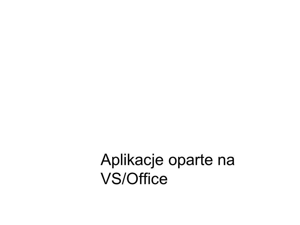 Rozszerzanie VS Cel: nowe narzedzia integracja środowisk pracy (analog do VS team system) platforma aplikacyjna (MSOffice) Środki: Snippety Makra Dodatki i aplikacje oparte na VS Własna strona startowa np.: TFS stats/ostatnie błędy/zadania