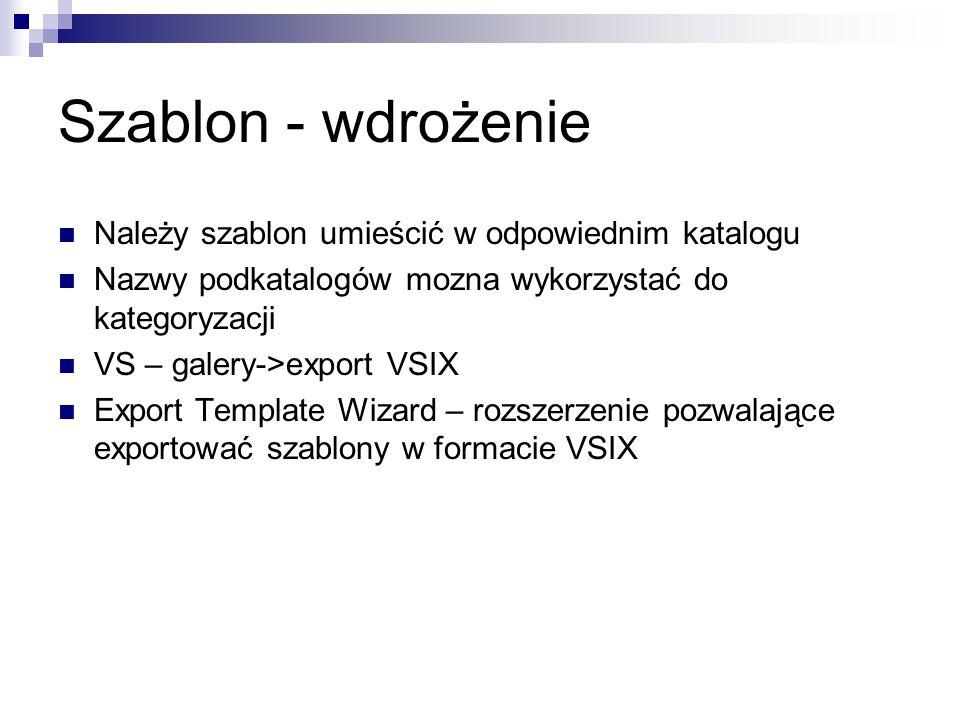 Szablon - wdrożenie Należy szablon umieścić w odpowiednim katalogu Nazwy podkatalogów mozna wykorzystać do kategoryzacji VS – galery->export VSIX Export Template Wizard – rozszerzenie pozwalające exportować szablony w formacie VSIX
