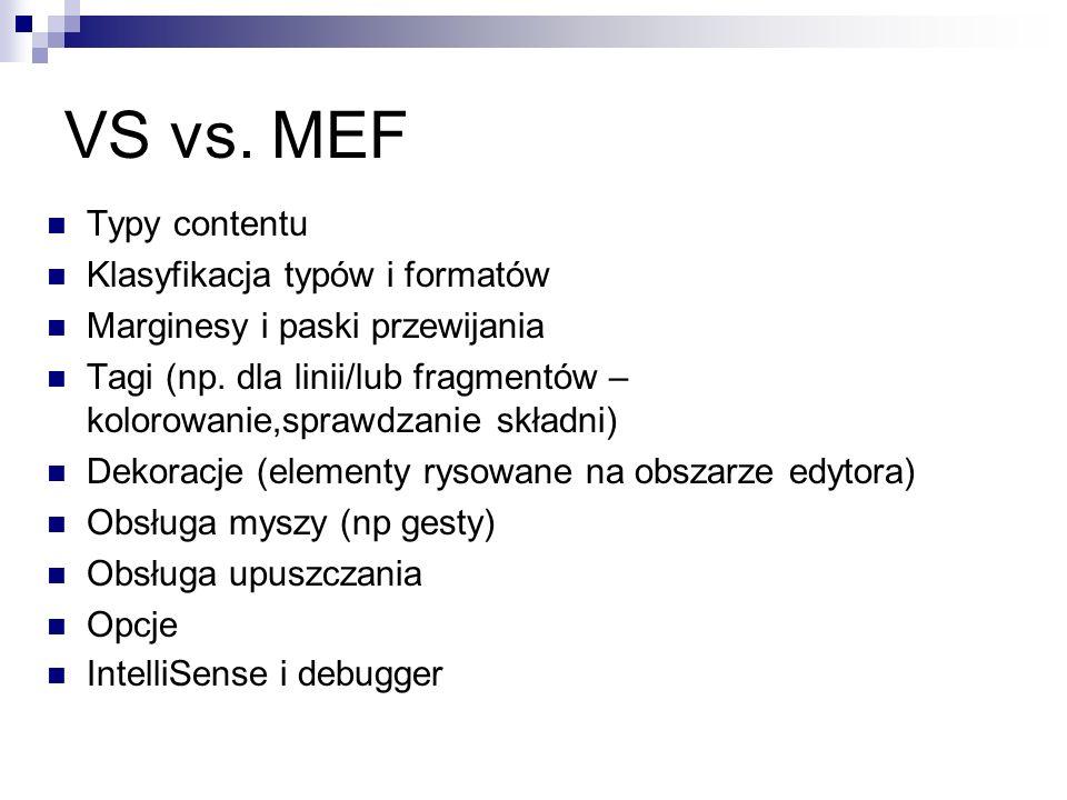 VS vs.MEF Typy contentu Klasyfikacja typów i formatów Marginesy i paski przewijania Tagi (np.