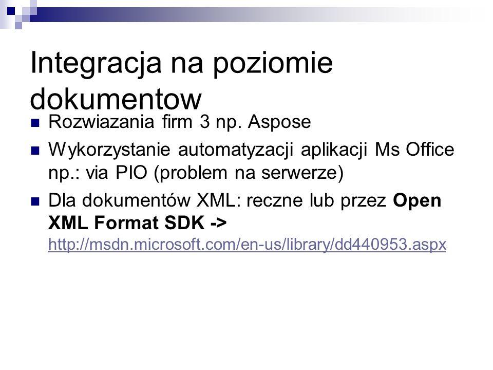 Integracja na poziomie dokumentow Rozwiazania firm 3 np.