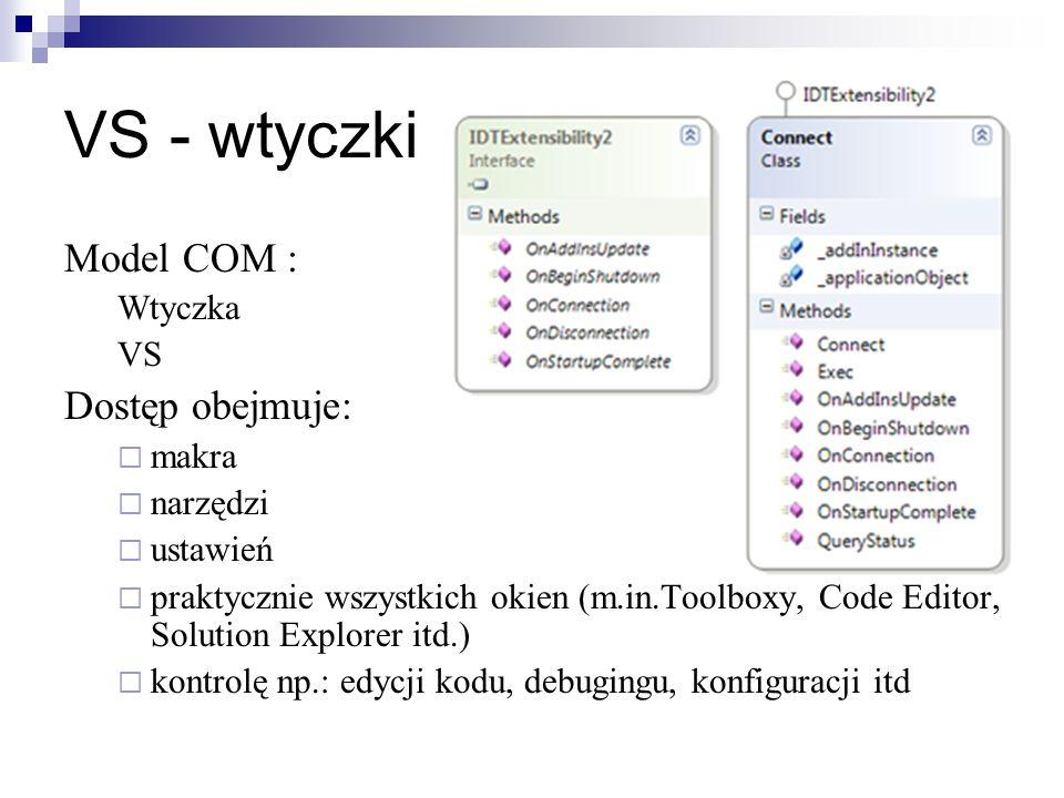 VS - wtyczki Model COM : Wtyczka VS Dostęp obejmuje: makra narzędzi ustawień praktycznie wszystkich okien (m.in.Toolboxy, Code Editor, Solution Explorer itd.) kontrolę np.: edycji kodu, debugingu, konfiguracji itd