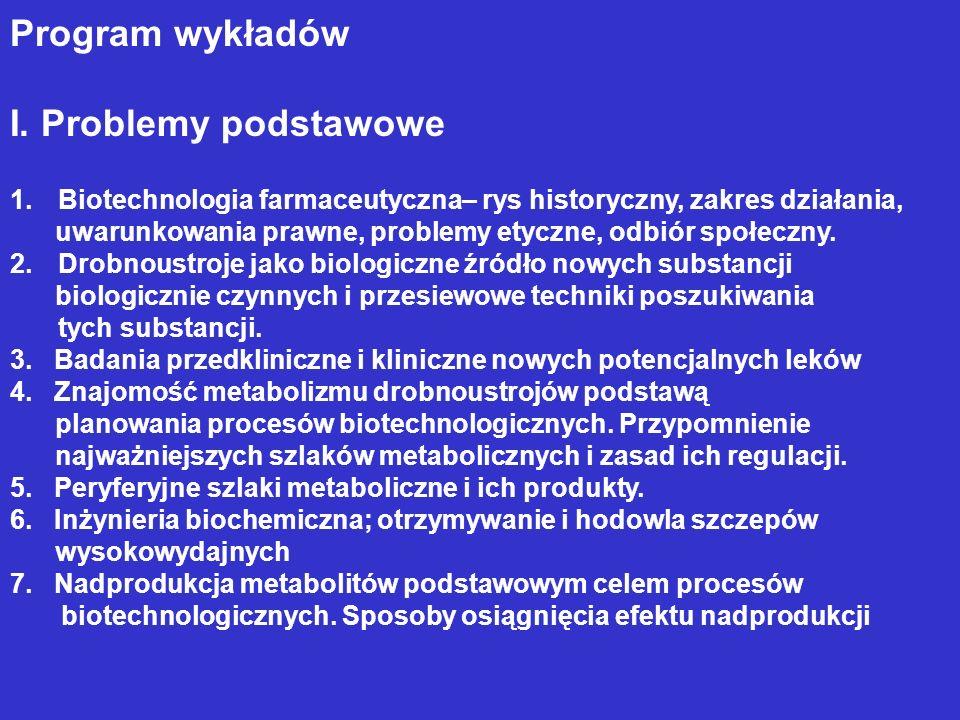 Program wykładów I. Problemy podstawowe 1.Biotechnologia farmaceutyczna– rys historyczny, zakres działania, uwarunkowania prawne, problemy etyczne, od