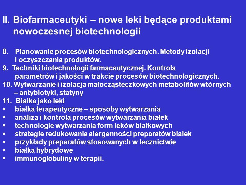 II. Biofarmaceutyki – nowe leki będące produktami nowoczesnej biotechnologii 8. Planowanie procesów biotechnologicznych. Metody izolacji i oczyszczani