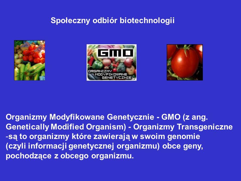 Organizmy Modyfikowane Genetycznie - GMO (z ang. Genetically Modified Organism) - Organizmy Transgeniczne -są to organizmy które zawierają w swoim gen