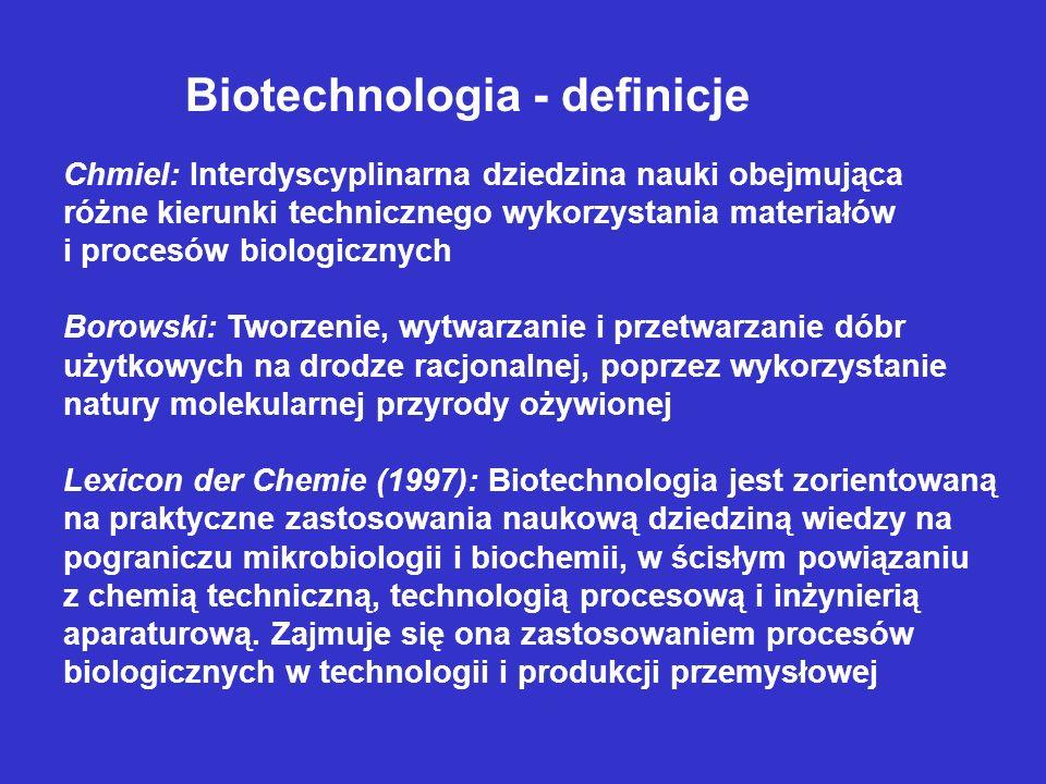 Biotechnologia - definicje Chmiel: Interdyscyplinarna dziedzina nauki obejmująca różne kierunki technicznego wykorzystania materiałów i procesów biolo