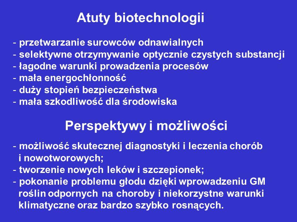 Atuty biotechnologii - przetwarzanie surowców odnawialnych - selektywne otrzymywanie optycznie czystych substancji - łagodne warunki prowadzenia proce