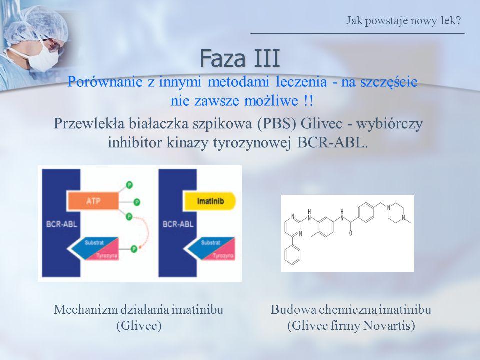 Faza III Porównanie z innymi metodami leczenia - na szczęście nie zawsze możliwe !! Przewlekła białaczka szpikowa (PBS) Glivec - wybiórczy inhibitor k