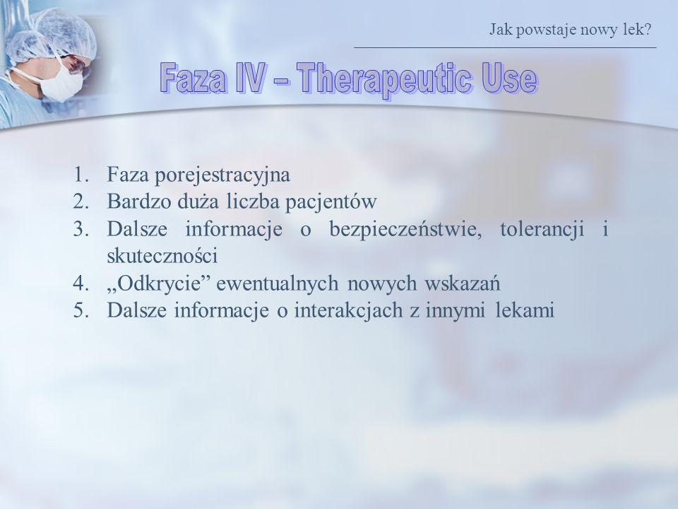 1.Faza porejestracyjna 2.Bardzo duża liczba pacjentów 3.Dalsze informacje o bezpieczeństwie, tolerancji i skuteczności 4.Odkrycie ewentualnych nowych