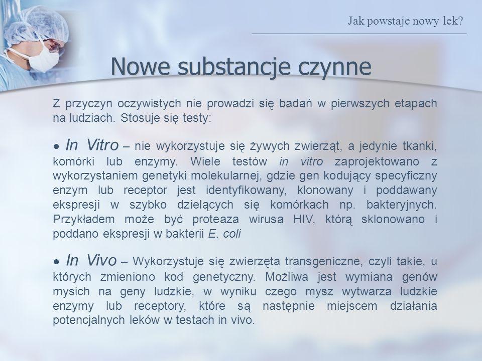 Nowe substancje czynne Z przyczyn oczywistych nie prowadzi się badań w pierwszych etapach na ludziach. Stosuje się testy: In Vitro – nie wykorzystuje