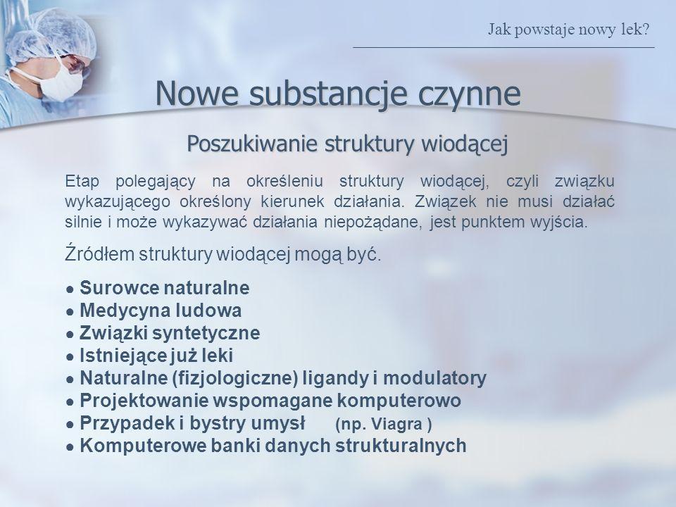 Poszukiwanie struktury wiodącej Nowe substancje czynne Etap polegający na określeniu struktury wiodącej, czyli związku wykazującego określony kierunek