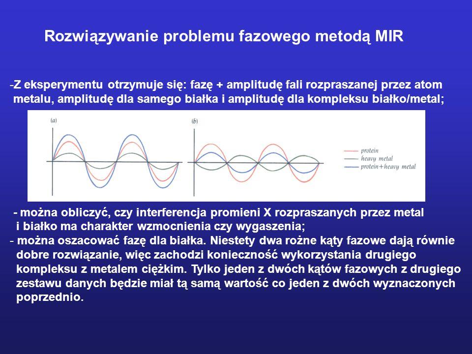 -Z eksperymentu otrzymuje się: fazę + amplitudę fali rozpraszanej przez atom metalu, amplitudę dla samego białka i amplitudę dla kompleksu białko/meta