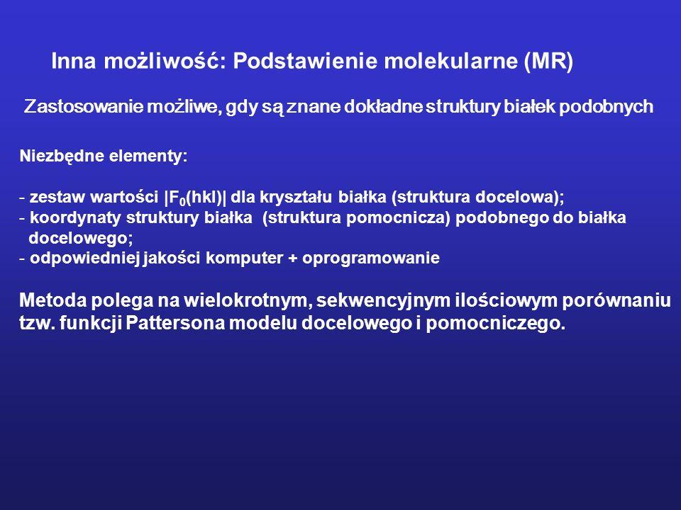 Niezbędne elementy: - zestaw wartości |F 0 (hkl)| dla kryształu białka (struktura docelowa); - koordynaty struktury białka (struktura pomocnicza) podo