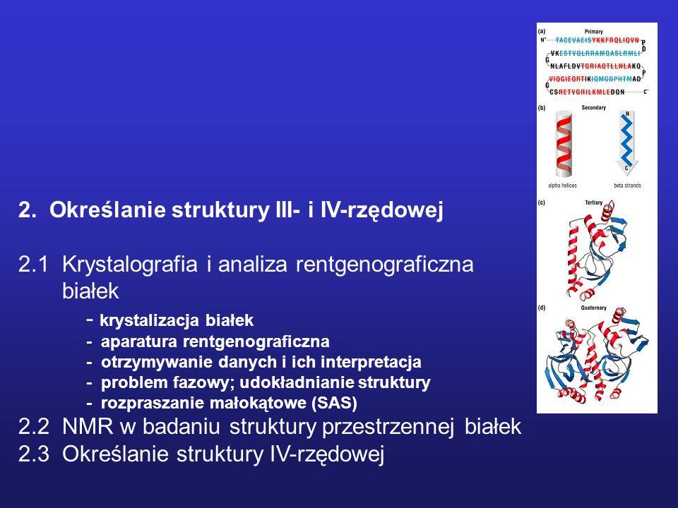 2. Określanie struktury III- i IV-rzędowej 2.1 Krystalografia i analiza rentgenograficzna białek - krystalizacja białek - aparatura rentgenograficzna