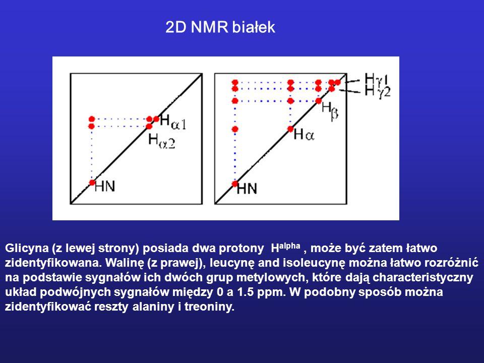 Glicyna (z lewej strony) posiada dwa protony H alpha, może być zatem łatwo zidentyfikowana. Walinę (z prawej), leucynę and isoleucynę można łatwo rozr