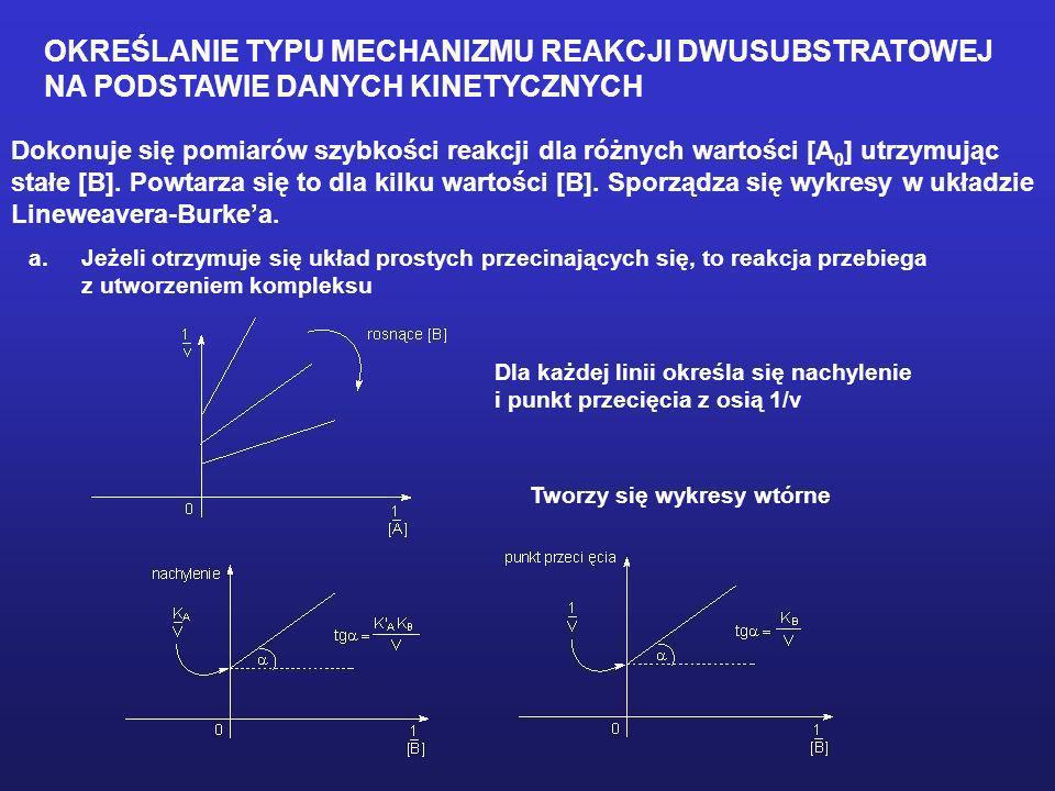 OKREŚLANIE TYPU MECHANIZMU REAKCJI DWUSUBSTRATOWEJ NA PODSTAWIE DANYCH KINETYCZNYCH Dokonuje się pomiarów szybkości reakcji dla różnych wartości [A 0