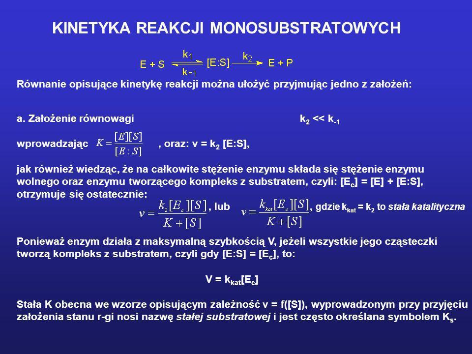 KINETYKA REAKCJI MONOSUBSTRATOWYCH Równanie opisujące kinetykę reakcji można ułożyć przyjmując jedno z założeń: a. Założenie równowagik 2 << k -1 wpro