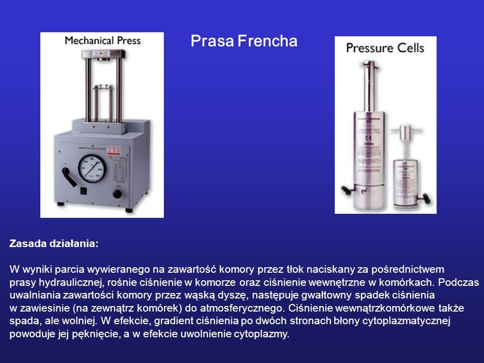 Prasa Frencha Zasada działania: W wyniki parcia wywieranego na zawartość komory przez tłok naciskany za pośrednictwem prasy hydraulicznej, rośnie ciśn